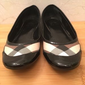 Burberry Canvas & Patent Leather Itcalbrimon Flats
